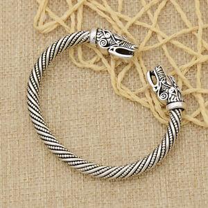 Silver-Open-Bracelet-Bangle-Cuff-Viking-Norse-Wolf-Head-Unisex-Jewelry-Gothic