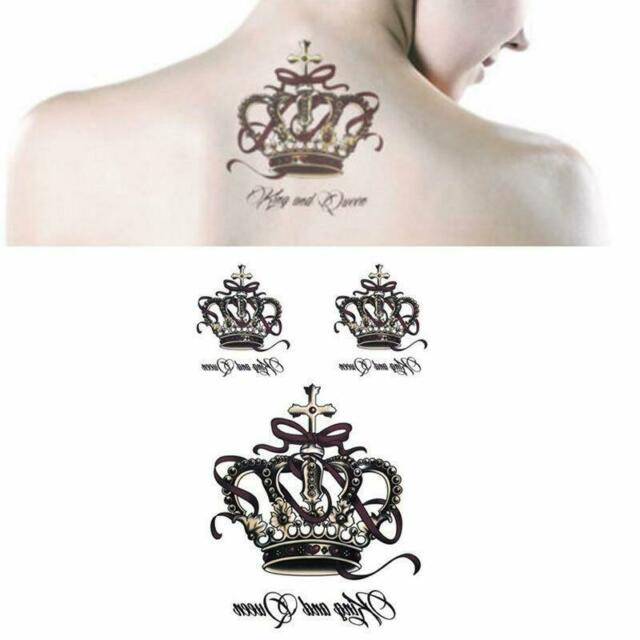 Removable Waterproof Temporary Tattoos Body Art Stickers King And Queen Crown Q For Sale Online Ebay