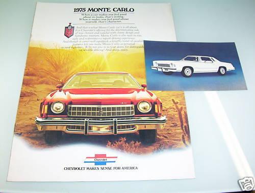 1975 CHEVROLET MONTE CARLO SALES BROCHURE /& ORIGINAL FACTORY-ISSUE POSTCARD