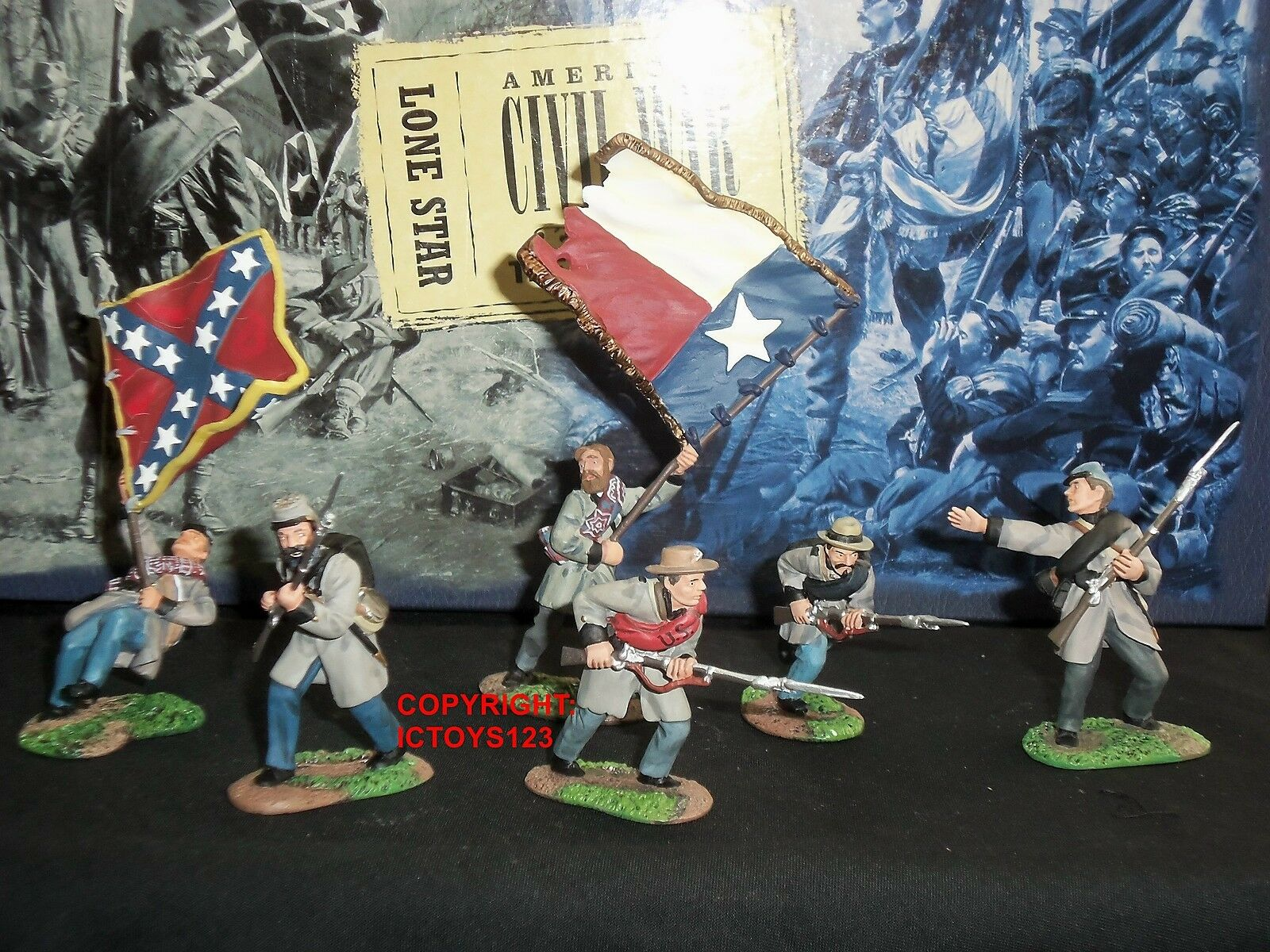 BRITAINS 17016 LONE STAR AMERICAN CIVIL WAR FLAGBEARER TOY SOLDIER FIGURE SET