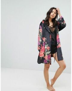 Bnwt B By Ted Baker Black Floral Print Juxtapose Rosedressing Gown