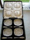 Cased Set of 4 Crystal Cut Butter Dishes with Sterling Silver Spreaders