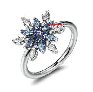 Argent Sterling 925 confit Flocon de Neige Cristal Bleu Clair Zircone Cubique Charme Anneau