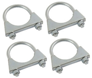 "Details about 4 No 54mm 2 1/8"" Universal U Bolt Car Van Exhaust Pipe Clamps  Clamp Nut Repair"