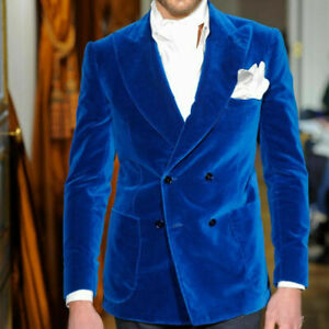 Blue Velvet Men Wedding Suits Blazer Double Breasted Prom Party Groom Jackets