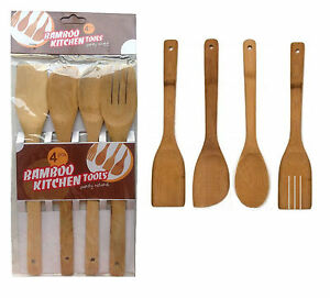 Image Is Loading 4 X Piece Bamboo Wooden Kitchen Cooking Utensils