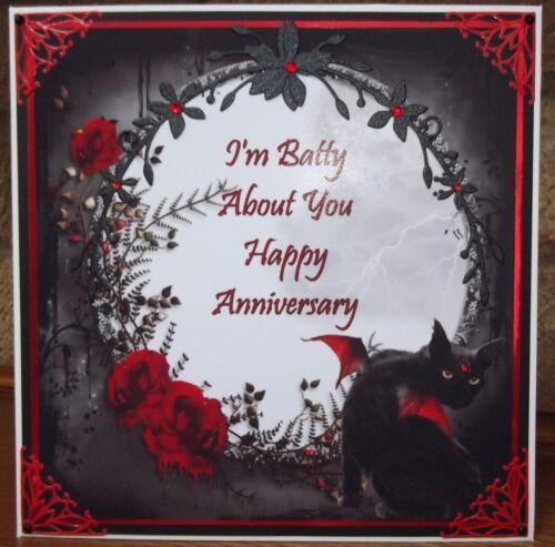 HANDMADE PERSONALISED GOTHIC PAGAN ANNIVERSARY CARD WITH ANGEL BAT BLACK CAT