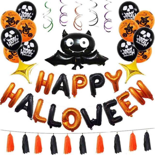 Halloween Banner Bat Balloon Latex Thicken Rubber Decoration Party Supplies Prop