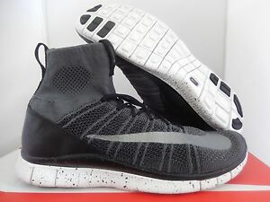 Nike Free Flyknit Mercurial Dark Grey Silver Black White Sz 12 805554 004