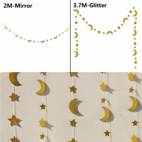 Beauty Stars Moon Paper Garland DIY Birthday Wedding Home Hanging Decors