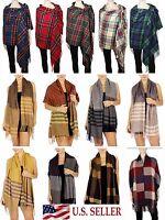 Oversize Scottish Tartan Plaid Cashmere Feel Scarf Long Thick Striped Shawl Wrap