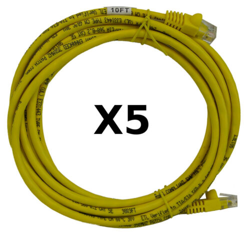 RJ45 CAT5E Ethernet Network Cable Yellow New 10/' 10 FT Foot Feet Wholesale Lots