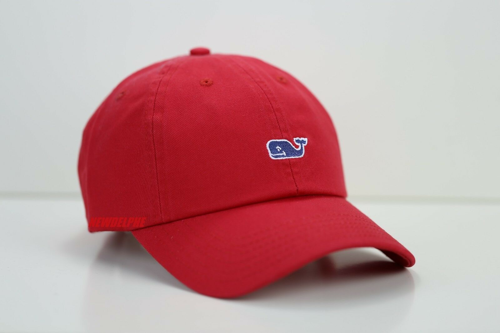 68584d7065e Vineyard Vines Mens Parade Red Navy Whale Classic Washed Baseball Cap Hat
