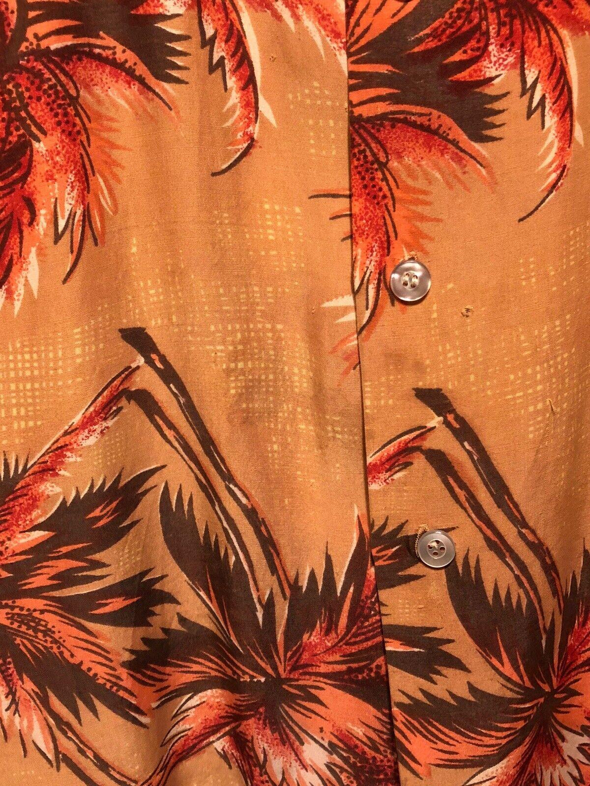 Vintage 1960's Aloha Light Orange Palm Trees Rayo… - image 4