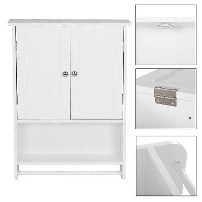 Badschrank 48.5x14.5x65cm Hängeschrank 3 Ablagen mit Tür MDF Schminkschrank Weiß