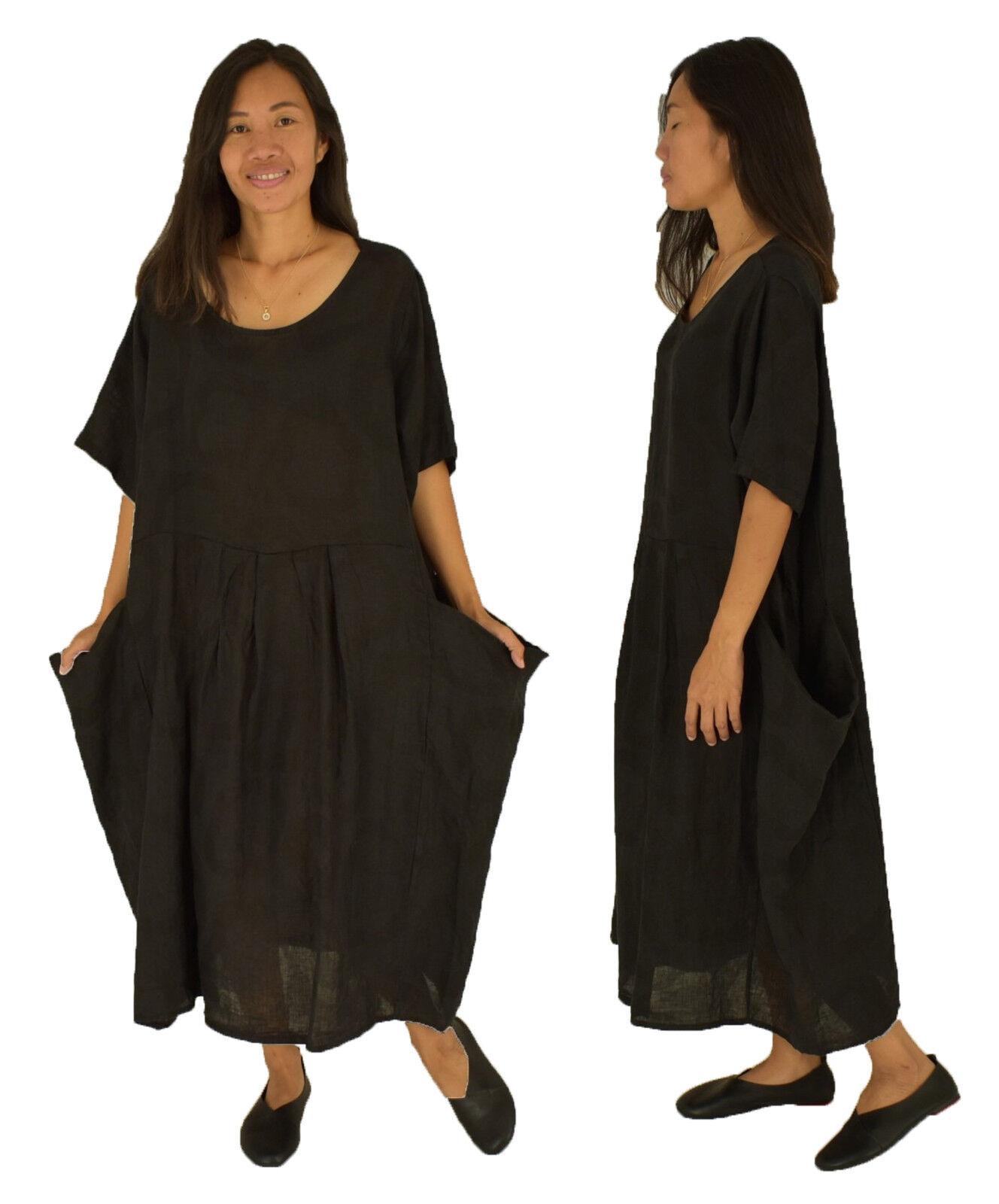 Kleid LB800SW Leinen one schwarz 50 48 46 44 Gr. Größe