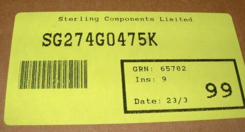 200 x 4.7 uF 250V DC assiale poliestere Pellicola CONDENSATORI TPC sg274g0475k sg4u7k250