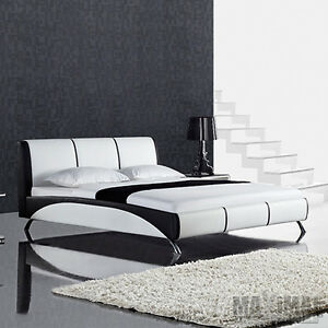 polsterbett fun bett schwarz wei 180x200 designerbett doppelbett ebay. Black Bedroom Furniture Sets. Home Design Ideas