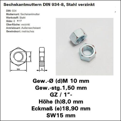 Sechskantmutter Mutter M 10 x 1,5 Schlüssel-Weite 15mm verzinkt +