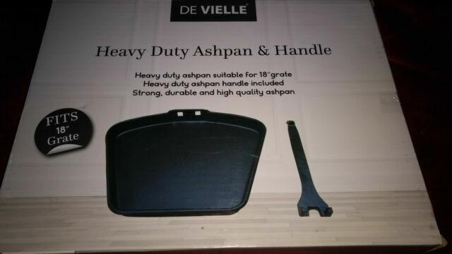 """De Vielle 18/"""" Ashpan and Handle Heavy Duty Black to fit Coal Fire Grate Basket"""