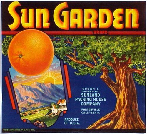 *Original* SUN GARDEN Porterville Oak Sunrise Orange Sunland Label NOT A COPY!
