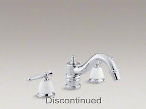 Vibrant Polished Brass Valve Not Included KOHLER K-T125-4-PB Antique Deck-Mount High-Flow Bath Faucet Trim with Lever Handles