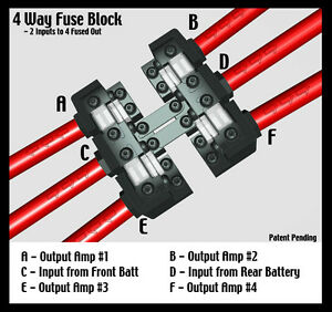 KnuKonceptz KNF-60 4 Way 0 Gauge Fused Distirbution Block 0 / 4 AWG Out