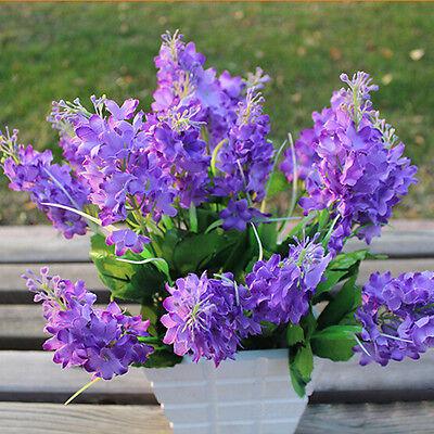 Hot Light Purple 5 Heads Artificial Fake Hyacinth Flower Home Office Decor