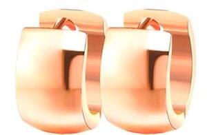 ROSE-GOLD-HUGGIE-HOOP-EARRINGS-13MM-FOR-MEN-amp-WOMEN