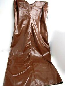 Fashion Nova MAKE IT SEXY Faux Leather Midi Dress, Brown. Size 3X - New w/ Tag
