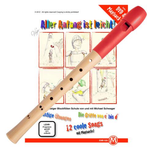 Blockflöte Kunststoff Ahorn barock Rot Flötenschule Flöte Anfänger Musikschule