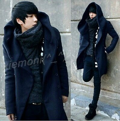 Fashion Spring Mens Double Breast Thicken Parka Jacket Woolen Long Hooded Coats