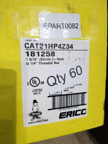 Erico Caddy CAT21HP4Z34 J Hook and Clip EPART0082 New 60 Ct Box