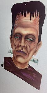 REPAIRED-Vintage-Cardstock-Frankenstein-Head-USA-Made-Die-Cut-14-75-Halloween