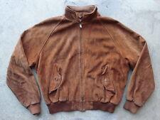 Vintage Polo Ralph Lauren Suede Jacket Size XL Brown Leather Coat Plaid Lined