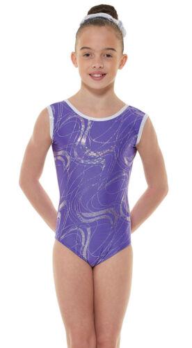 Nylon//Sparkly Foil Girls Gymnastics Sleeveless Leotard Gym Dancewear Age 4-12