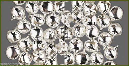 Drops or Cat Toy 12mm LOT 100 Metal JINGLE BELLS ~ Silver Color ~ Use as Charms