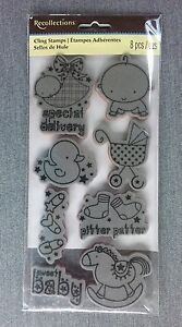Baby-EZ-Cling-Rubber-Stamp-set-New-Born-Baby-baby-shower-Special-Delivery