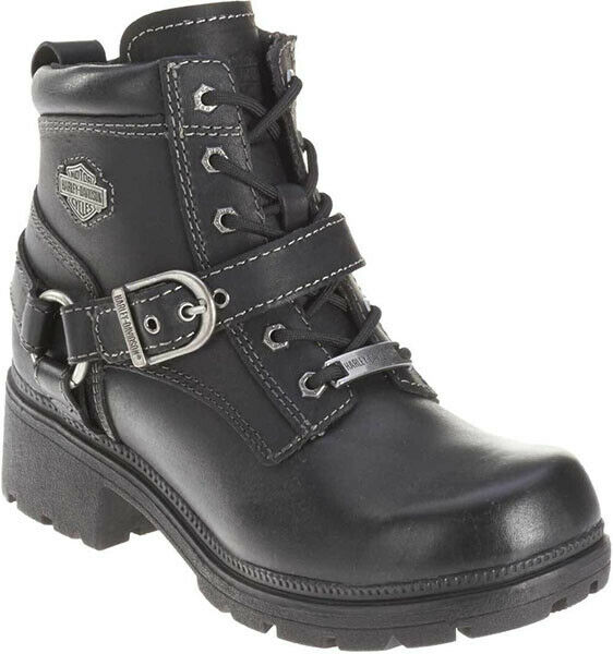eecc4313ac Harley-Davidson Womens Tegan Low Cut Lace-up Black Leather Biker Boots  D84424