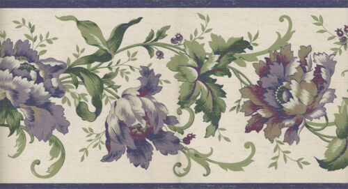 JACOBEAN PURPLE AND GREEN FLORAL  WALLPAPER BORDER