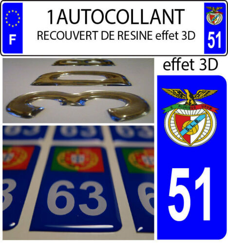 1 sticker plaque immatriculation auto DOMING 3D RESINE BENFICA PORTUGAL DEPA 51