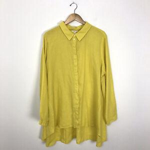 Eileen-Fisher-Women-039-s-3X-100-Organic-Linen-Button-Up-Tunic-Shirt-Yellow-L-S-B3