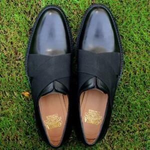 Slip-Ons-Men-Casual-Crossover-Oxfords-Loafers-Handmade-Calf-Leather-Black-Shoes