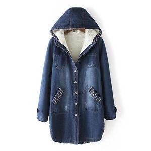 Denim Jacket Women Hooded Winter Jackets fur lining ladies Casual ...