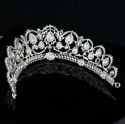 Rococo Style Clear Austrian Rhinestone Crystal Hair Tiara Crown Bridal Prom T8