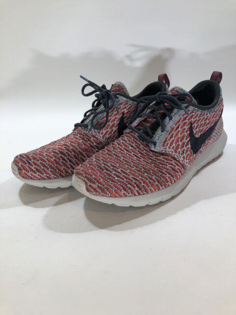 Nike Flyknit Roshe Running Shoe Gray Crimson Anthracite 677243 602 Mens Size 9.5