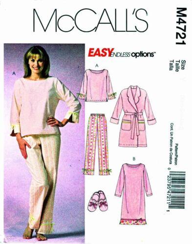 Sleepwear PJs Top Pants Robe Gown Slipper Pattern Choice XS-XL McCall/'s 4721 OOP