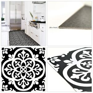 Details About Vinyl L Stick Floor Tiles Gothic Black White Home Living Bedroom 10sq Ft 10pc