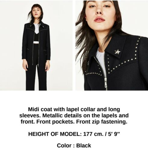Studs Uk Details Black Xs 34 2 Coat Wool 6 Us New Size Zara Eu gEwFqHF