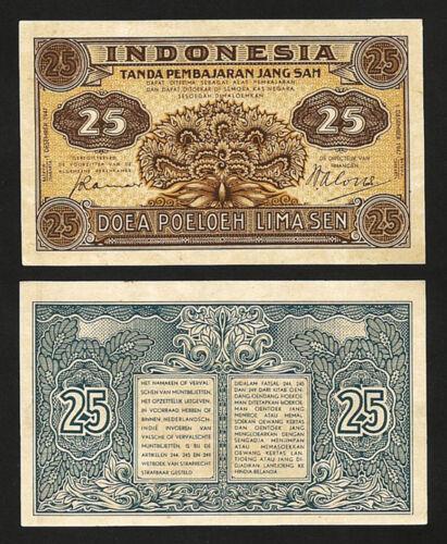 INDONESIA 25 SEN 1 DECEMBER 1947 UNC P-32